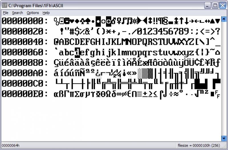 Pantallazo 1Fh Binary/Hex Editor
