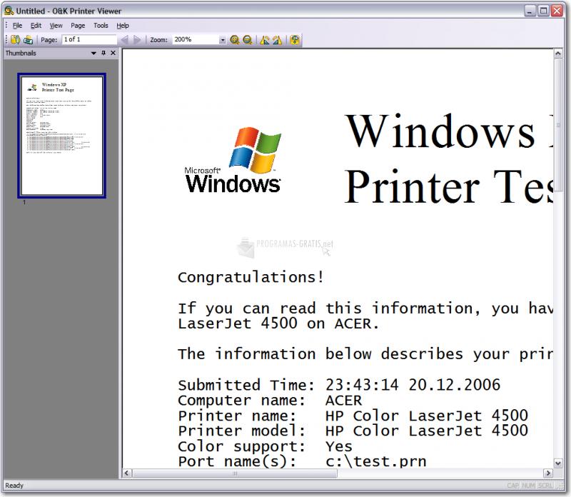 Pantallazo O&K Printer Viewer Pro