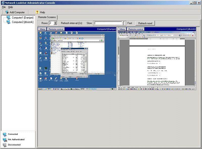 Pantallazo Network LookOut Administrator