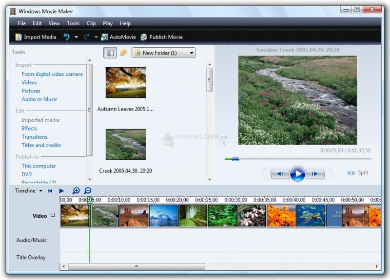 Pantallazo Windows Movie Maker (Vista)