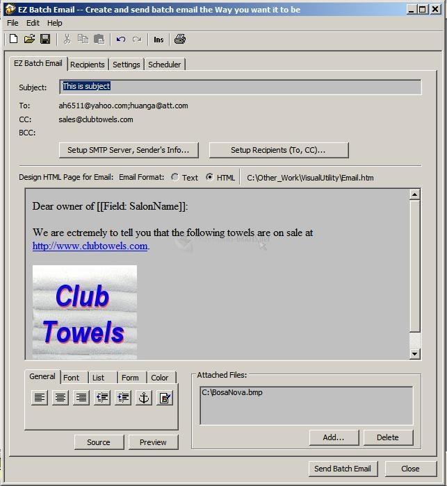 Pantallazo EZ Batch Email