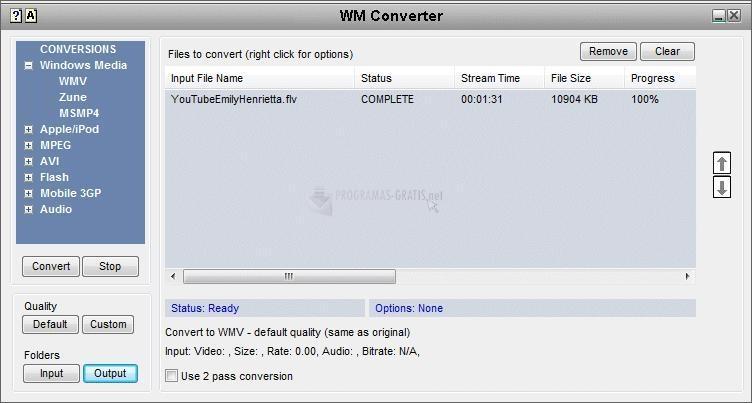 Pantallazo WM Converter