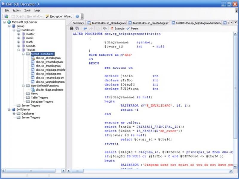Pantallazo DMT SQL Decryptor