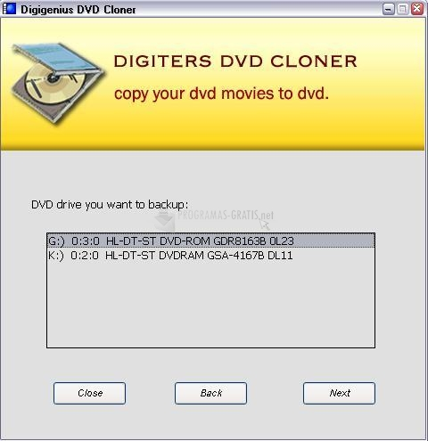 Pantallazo Digiters DVD Cloner
