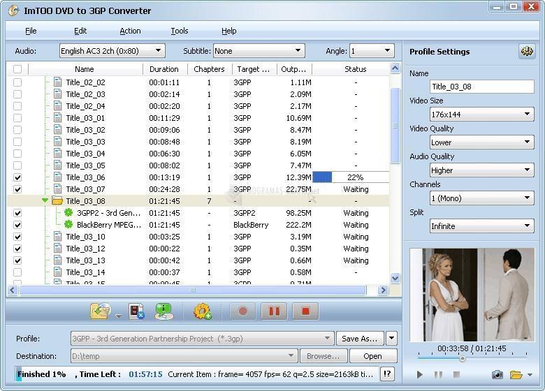 Pantallazo ImTOO DVD to 3GP Suite