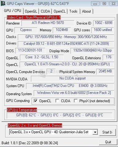 Pantallazo GPU Caps Viewer