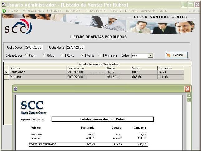 Pantalla Stock Control Center Plus