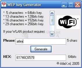 Pantallazo WEP Key Generator