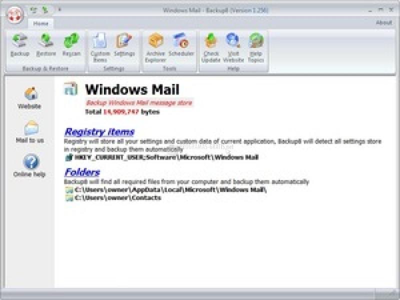 Pantallazo Windows Mail Backup