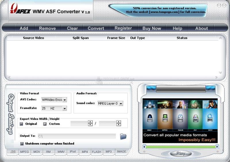 Pantallazo Apex WMV ASF Converter