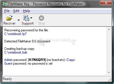 Pantallazo FileMaker Key