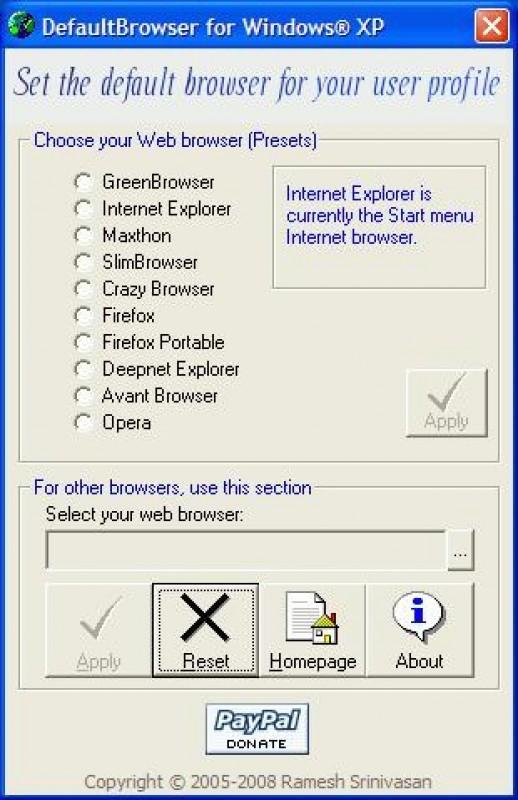 Pantallazo Default Browser
