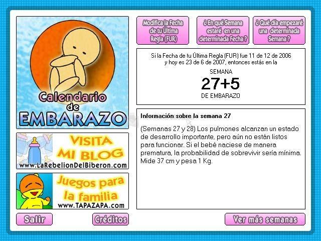 Pantallazo Calendario de Embarazo
