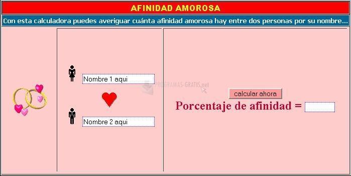 Pantallazo Afinidad Amorosa