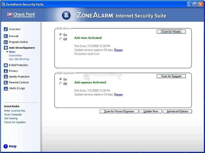 Captura ZoneAlarm Internet Security Suite