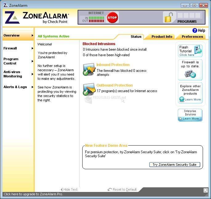 Pantallazo ZoneAlarm Firewall Free Vista