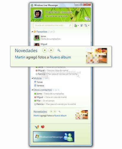 Pantalla Windows Live Messenger