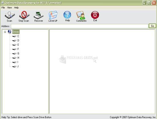 Pantallazo Optimum Data Recovery NTFS Format