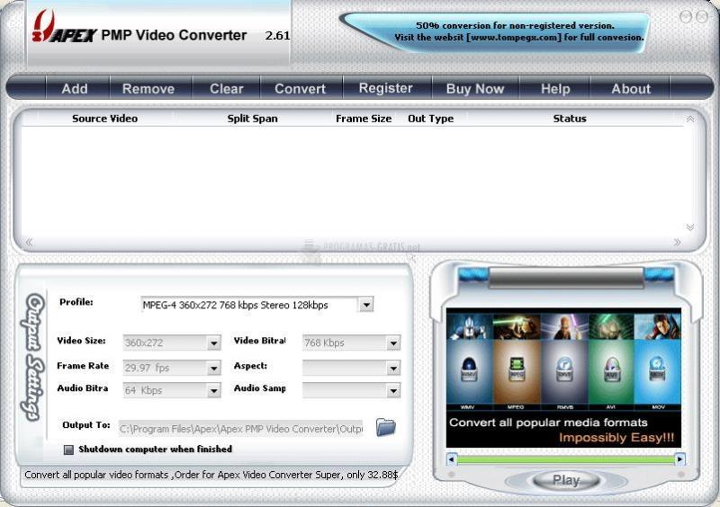 Pantallazo Apex PMP Video Converter