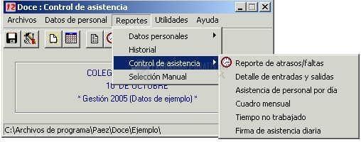 Pantallazo Doce: Control de Asistencia