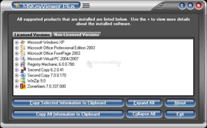 Pantallazo MSKeyViewer Plus