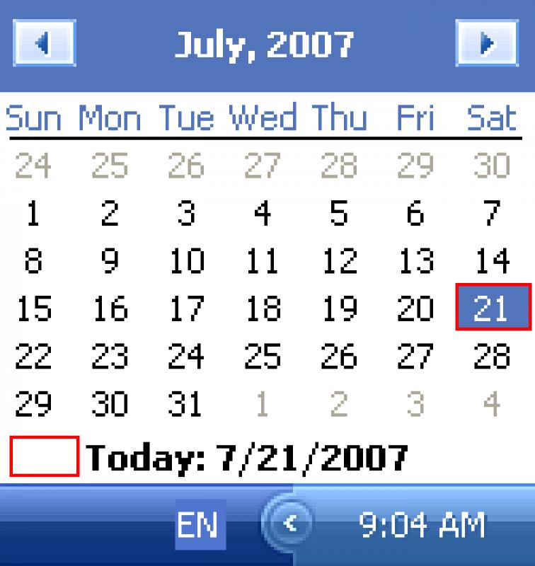 Pantallazo QuickMonth Calendar