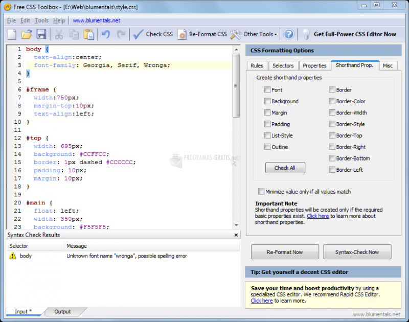 Pantallazo Free CSS Toolbox