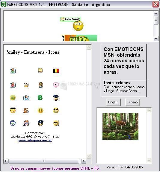 Pantallazo Emoticons