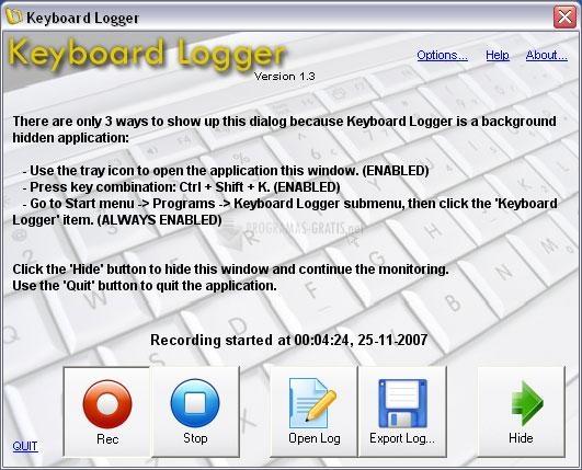 Pantallazo Keyboard Logger