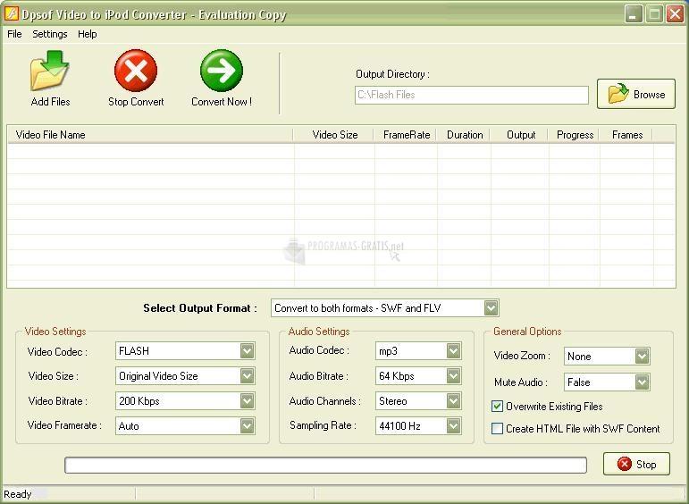 Pantallazo Convert Videos to Flash 2007