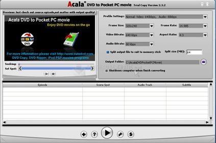 Pantallazo Acala DVD to Pocket PC Movie
