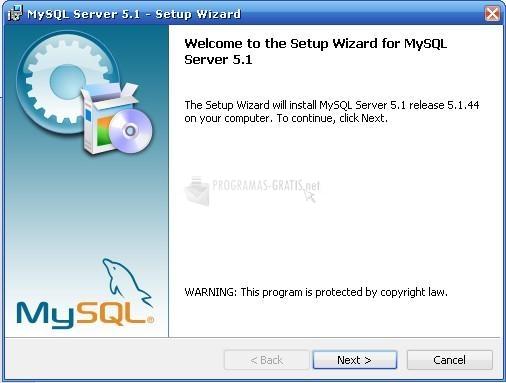 Pantallazo MySQL for Windows