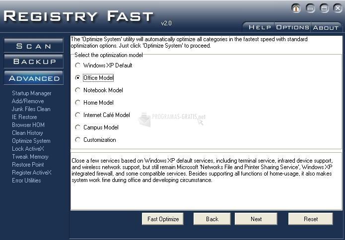 Pantallazo Registry Fast