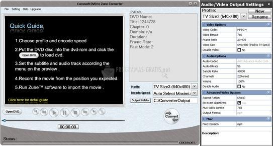 Pantallazo Cucusoft Zune Video Converter