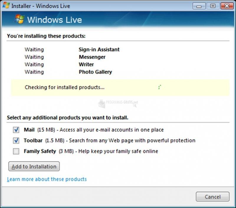 Pantallazo Windows Live Suite