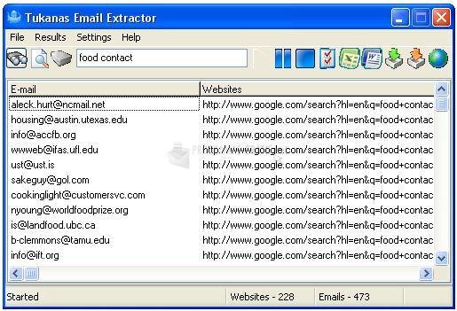 Pantallazo Tukanas Email Extractor