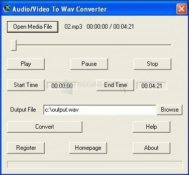 Pantallazo Audio/Video To Wav Converter