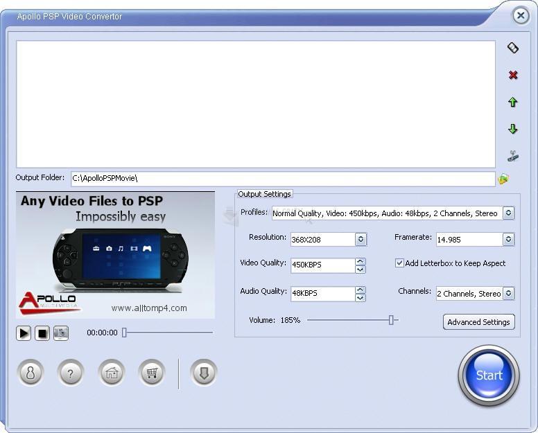 Pantallazo Apollo PSP Video Converter