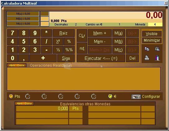 Pantallazo Calculadora Multisof