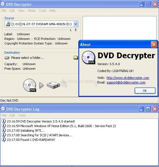 Pantallazo DVD Decrypter