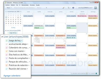Pantalla Windows Live Mail