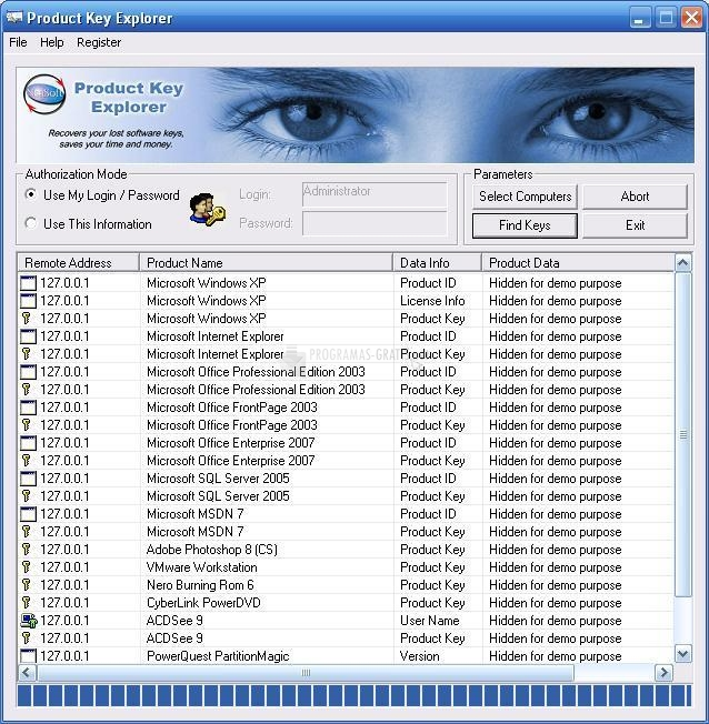 Pantallazo Product Key Explorer