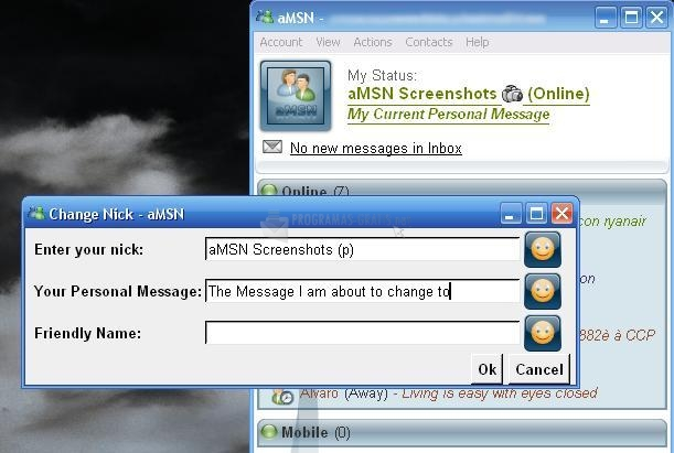 Pantalla aMSN Messenger