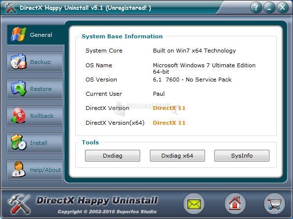Pantallazo DirectX Happy Uninstall