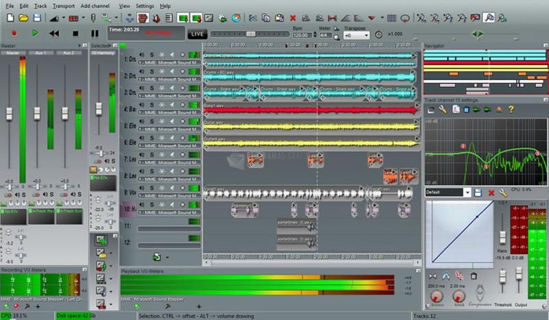 Pantallazo N-Track Studio 64bits