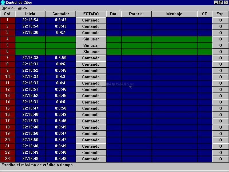 Pantallazo Control de Ciber Servidor