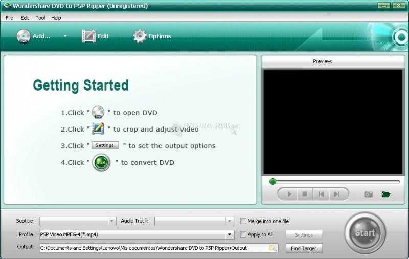Pantallazo Wondershare DVD to PSP Ripper