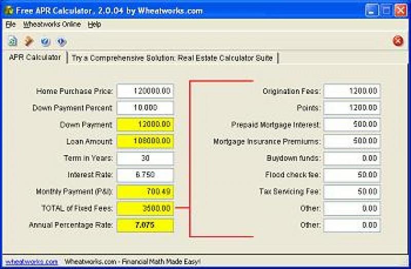 Pantallazo Free Mortgage Loan APR Calculator