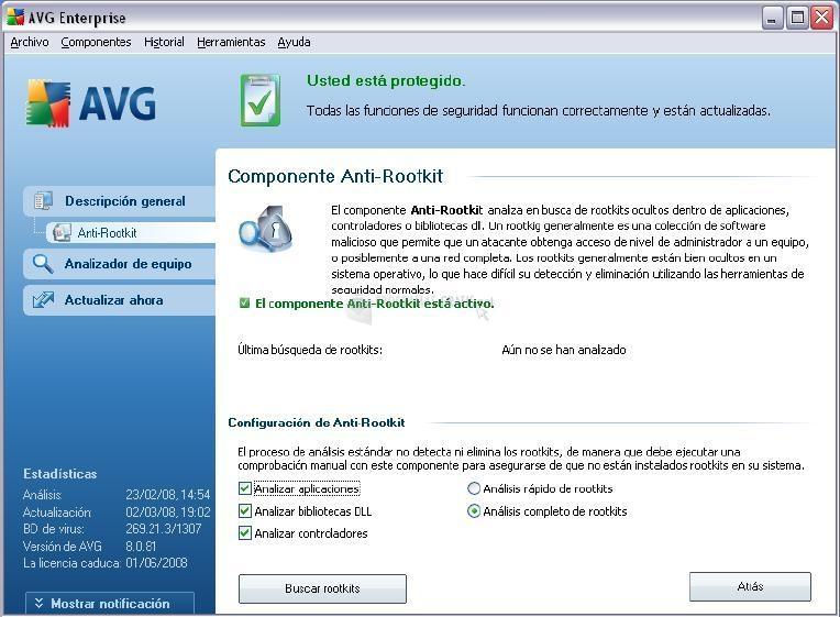 Pantalla AVG Internet Security