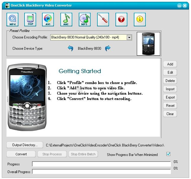 Pantallazo OneClick BlackBerry Video Converter